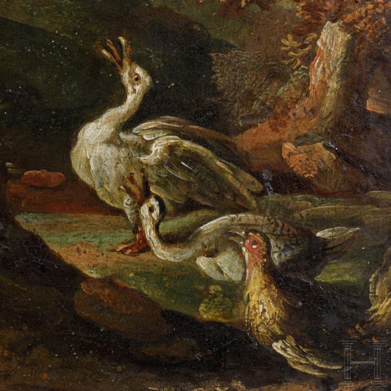 """""""Kleintiere richten den Fuchs"""" – Gemälde, Niederlande, 1. Hälfte 17. Jhdt."""