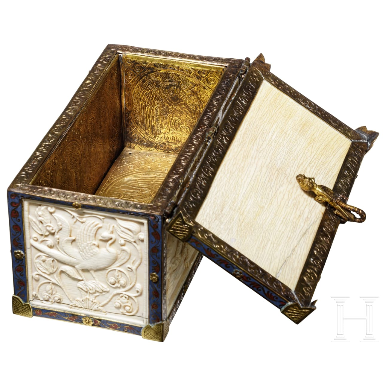 A distinguished ivory casket in Romanesque style, Paris, mid-19th century
