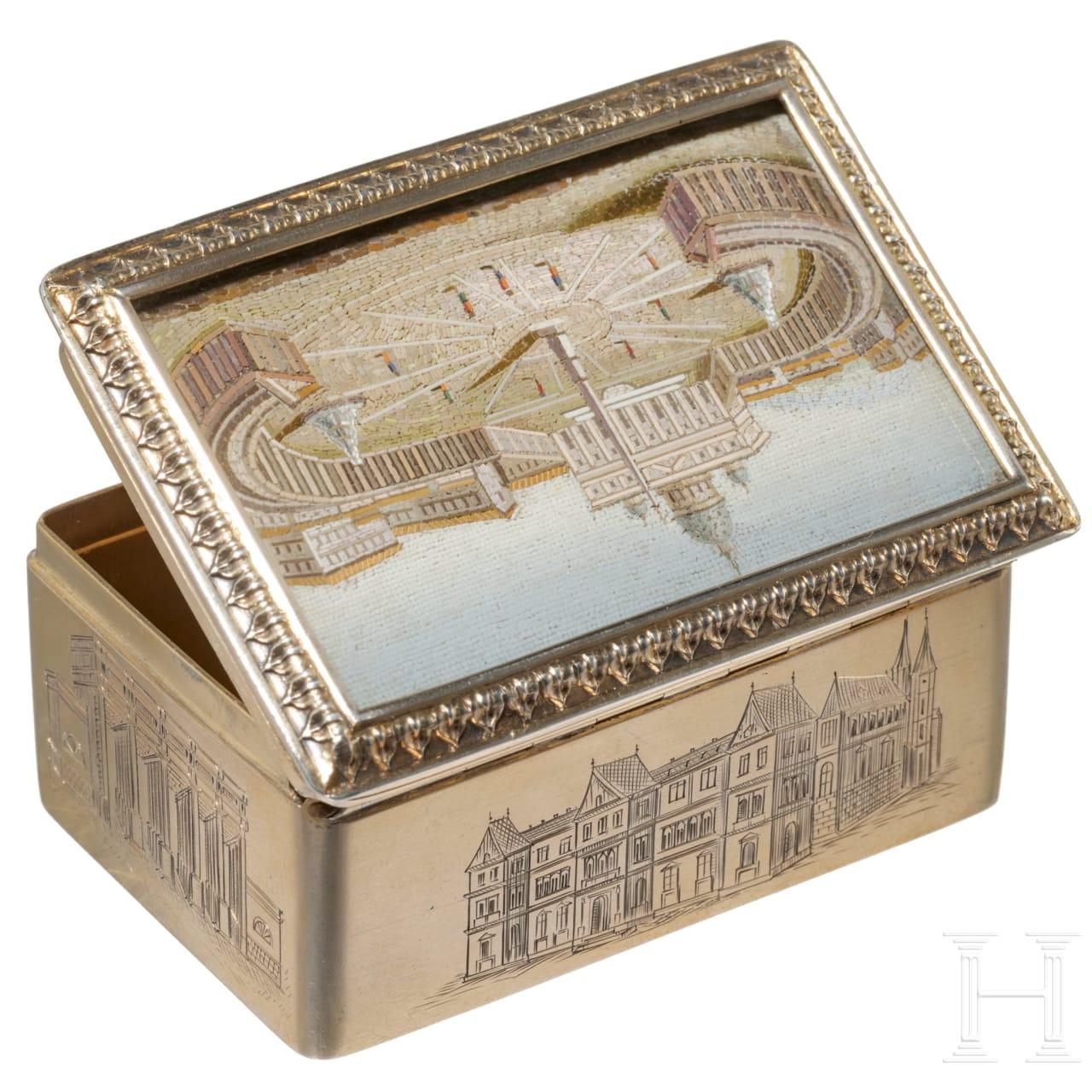 A Viennese silver gilt box with micro-mosaic, 19th century