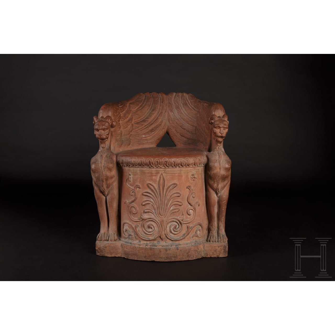 A rare original classicist terracotta-seat, Florence, circa 1800