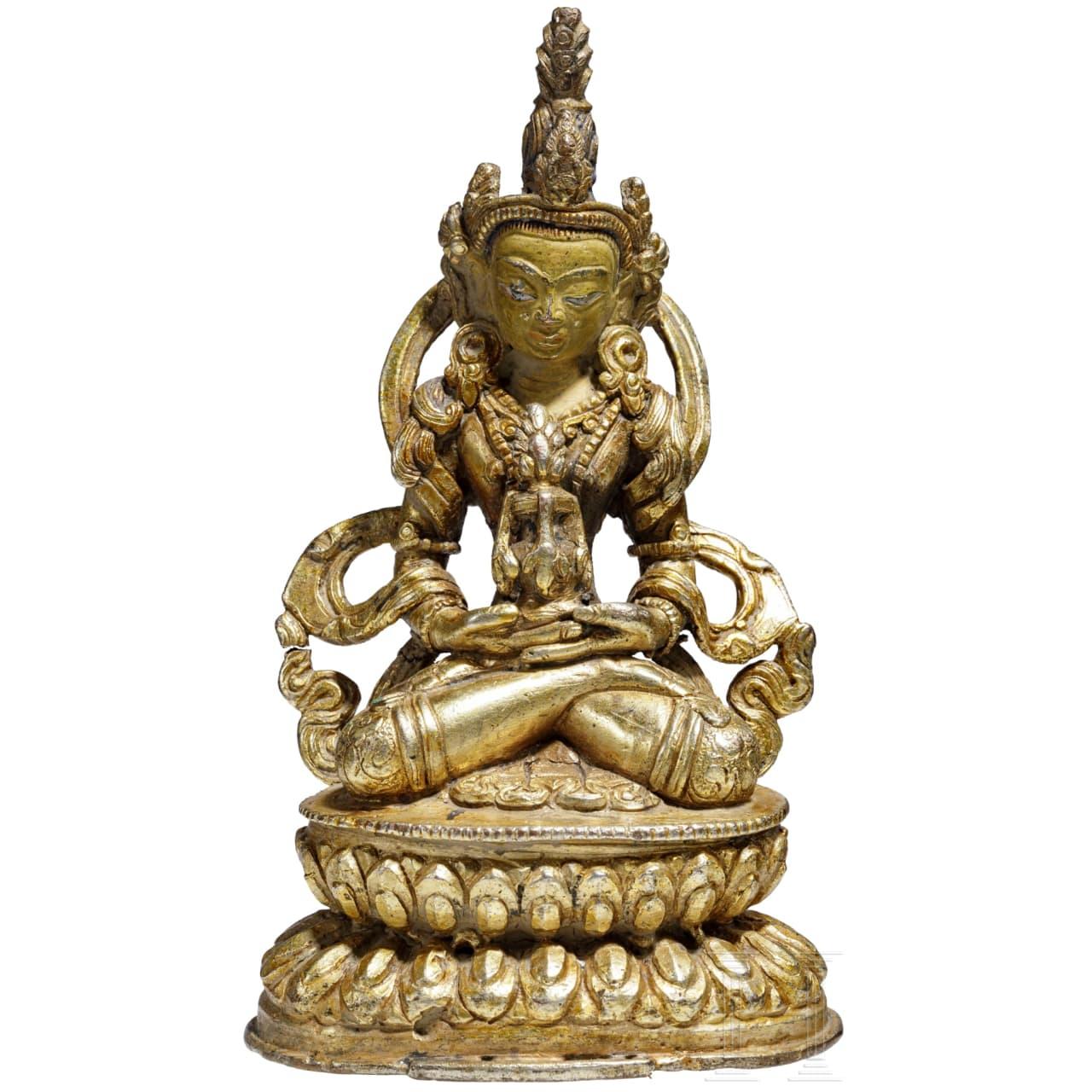 Figur des Amithabha mit Amrita-Gefäß, Bronze, Tibet, 18. Jhdt.