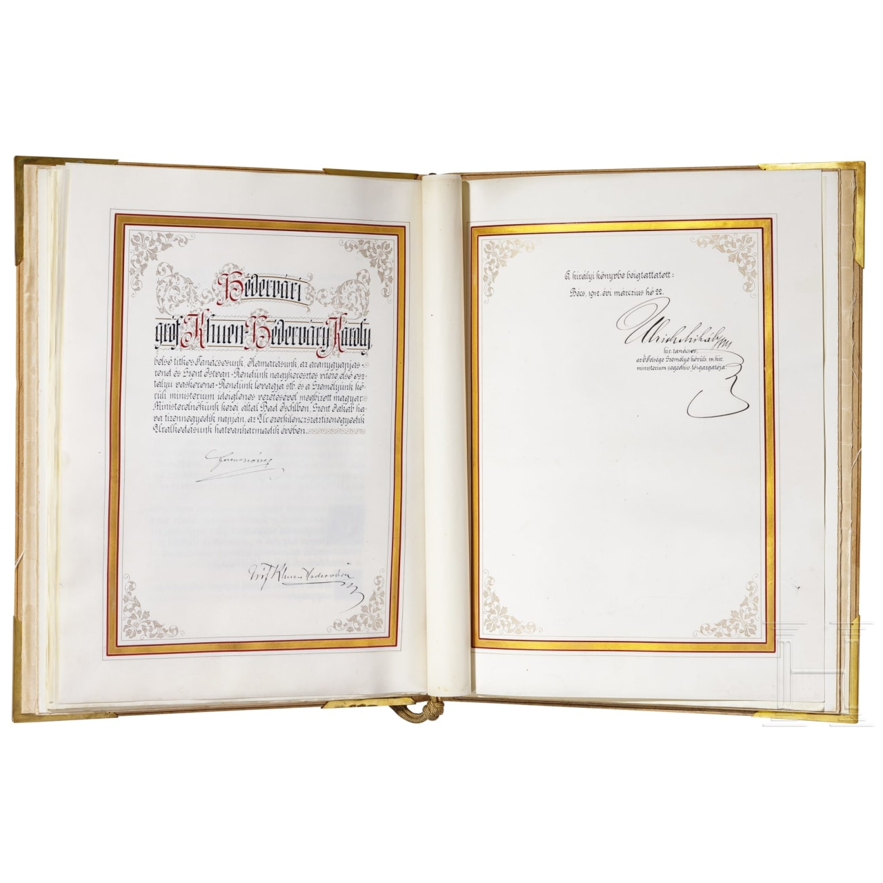 Emperor Franz Josef I of Austria – a magnificent Hungarian patent of nobility for Kiss Antal(t), dated 1912