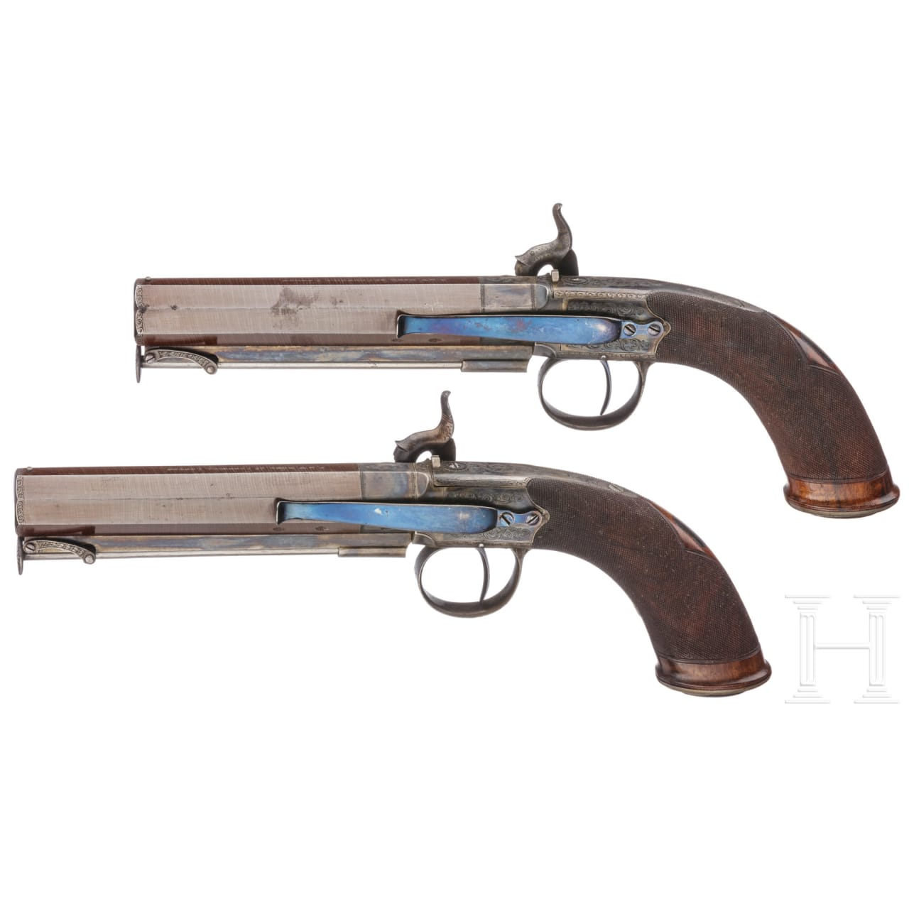 A cased pair of percussion pistols by E.& W. Bond, London, circa 1830