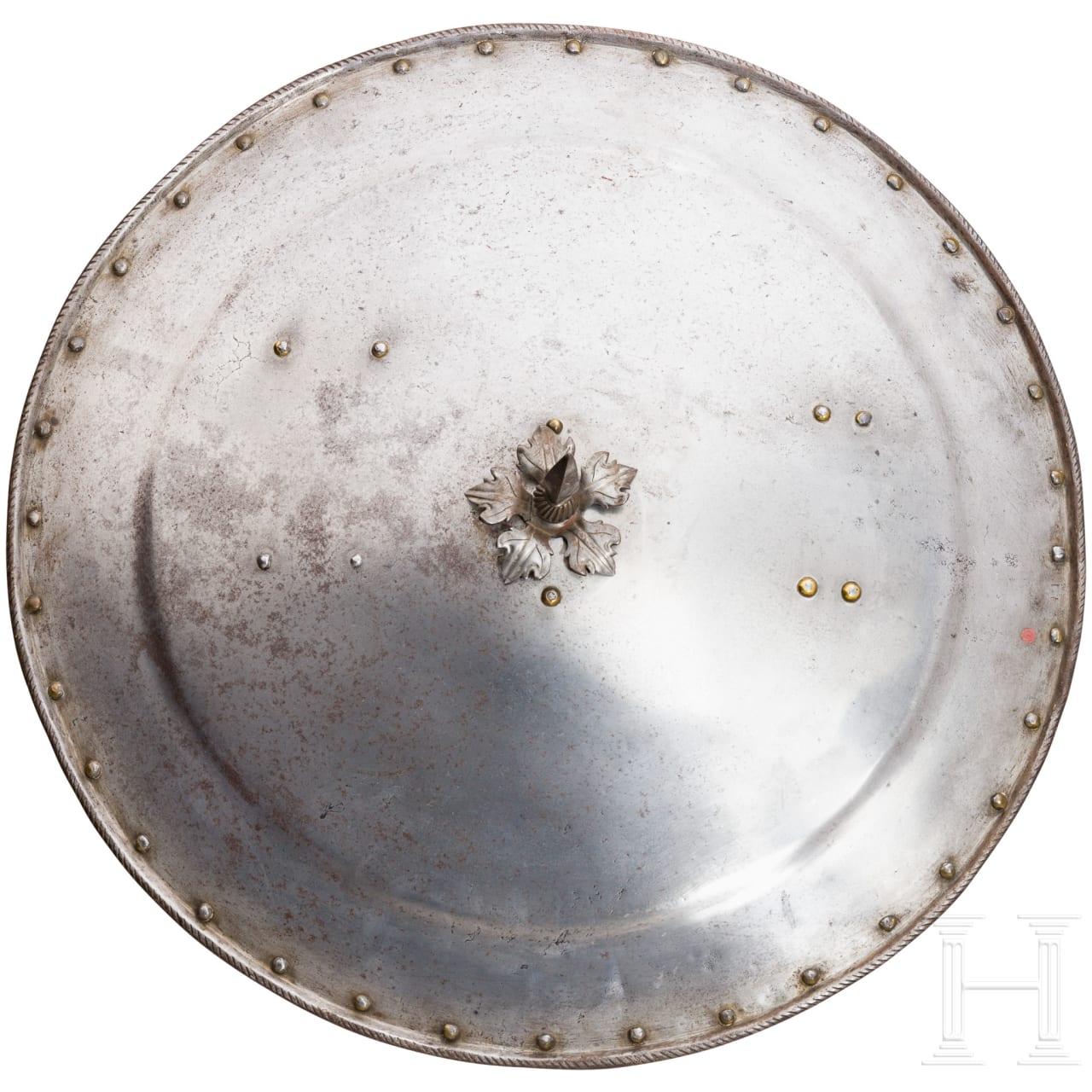 An iron German round shield, circa 1600