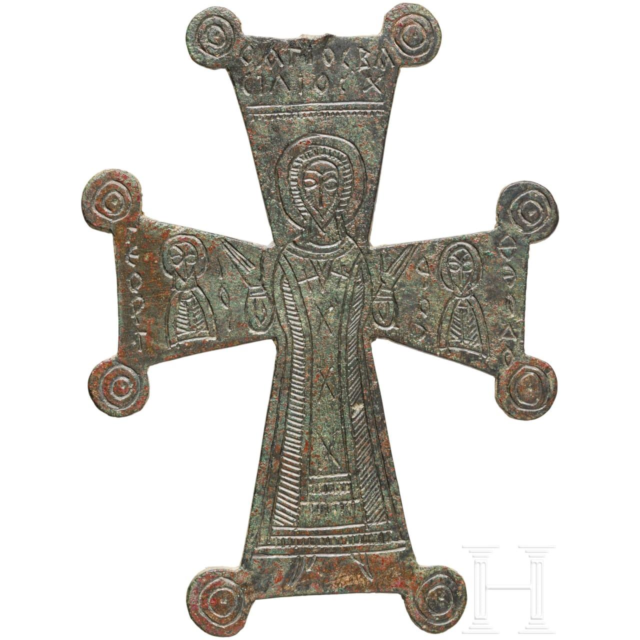 Kreuzanhänger, Bronze, mittelbyzantinisch, 9. - 11. Jhdt.