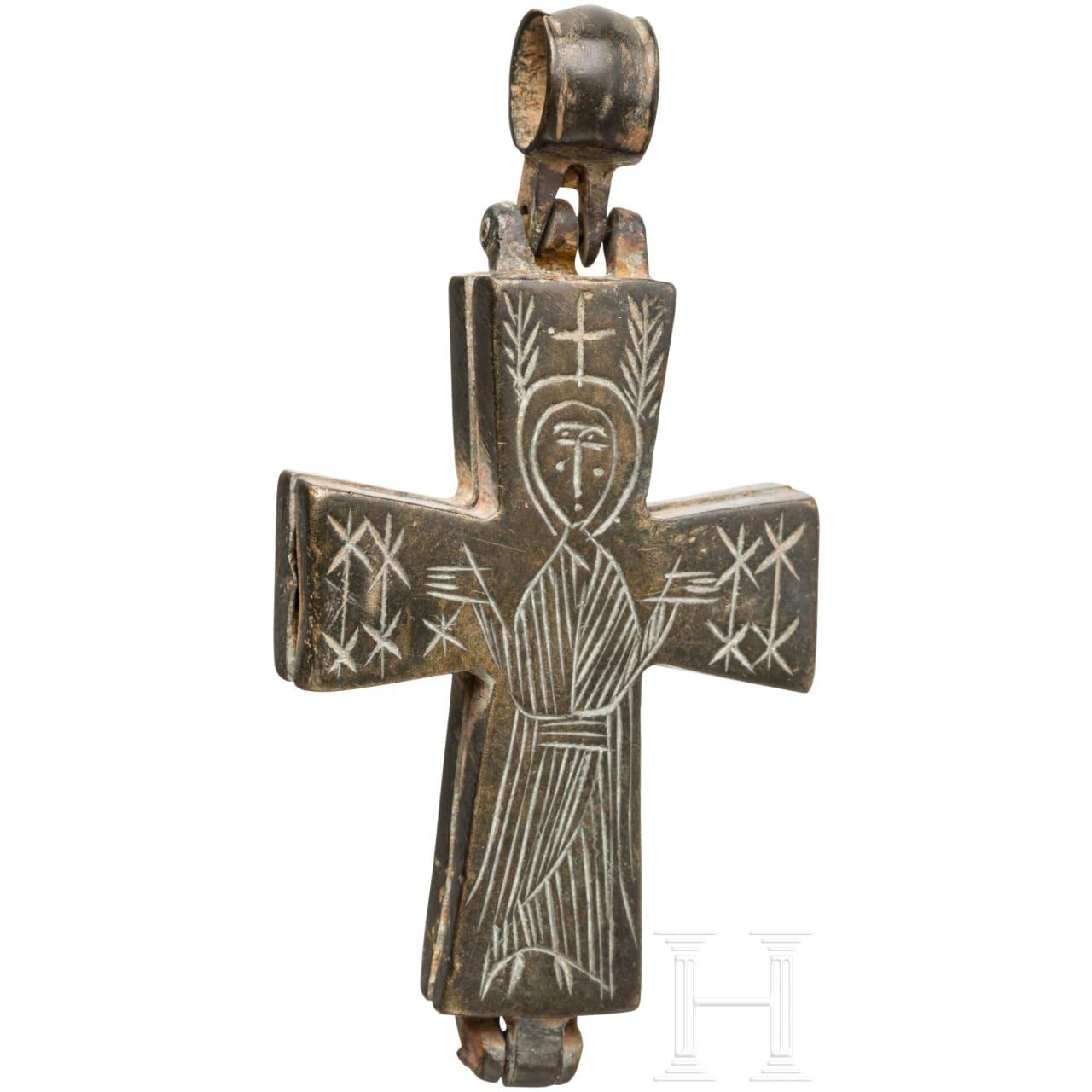 Bronzenes Enkolpion, mittelbyzantinisch, 9. - 11. Jhdt.