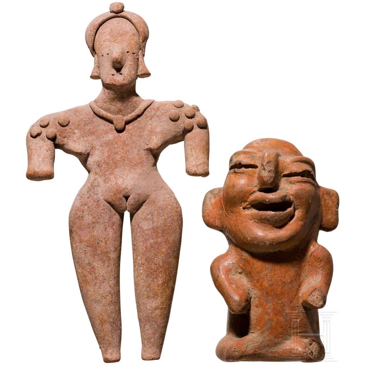 Weibliches Idol, Colima, Mexiko, 100 v. Chr. - 200 n. Chr., und eine groteske Terrakottafigur