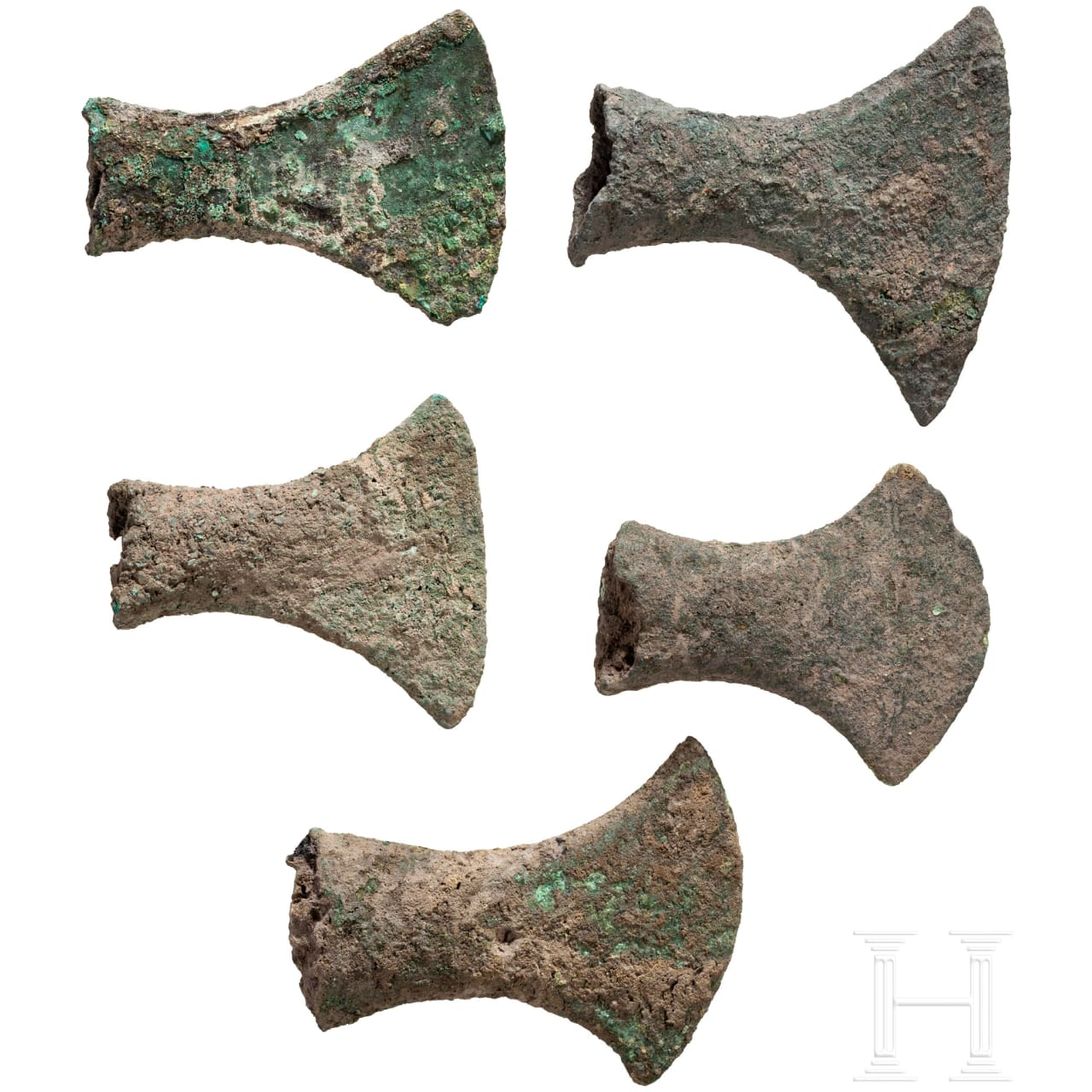 Fünf Tüllenbeile, Bronzezeit, Südosteuropa bis kaspischer Raum, 2. Jtsd. v. Chr.