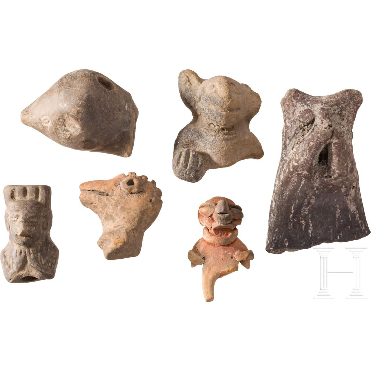 Sechs Terrakottafragmente, Peru, präkolumbianisch