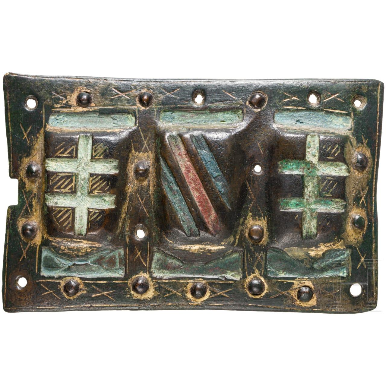 Seltene frühe Plakette mit Wappenschildern, wohl England, 14. Jhdt.