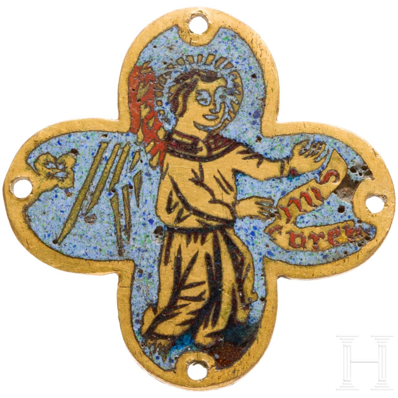 Frühe Plakette in Kreuzform mit Engel, Limoges oder Italien, 15. Jhdt.