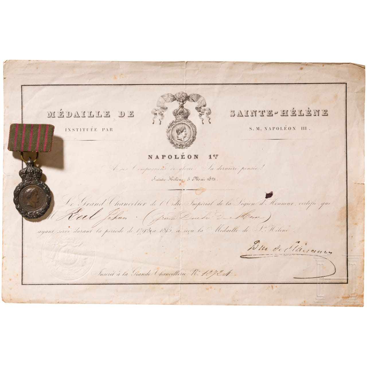 St. Helena medal with bestowal document