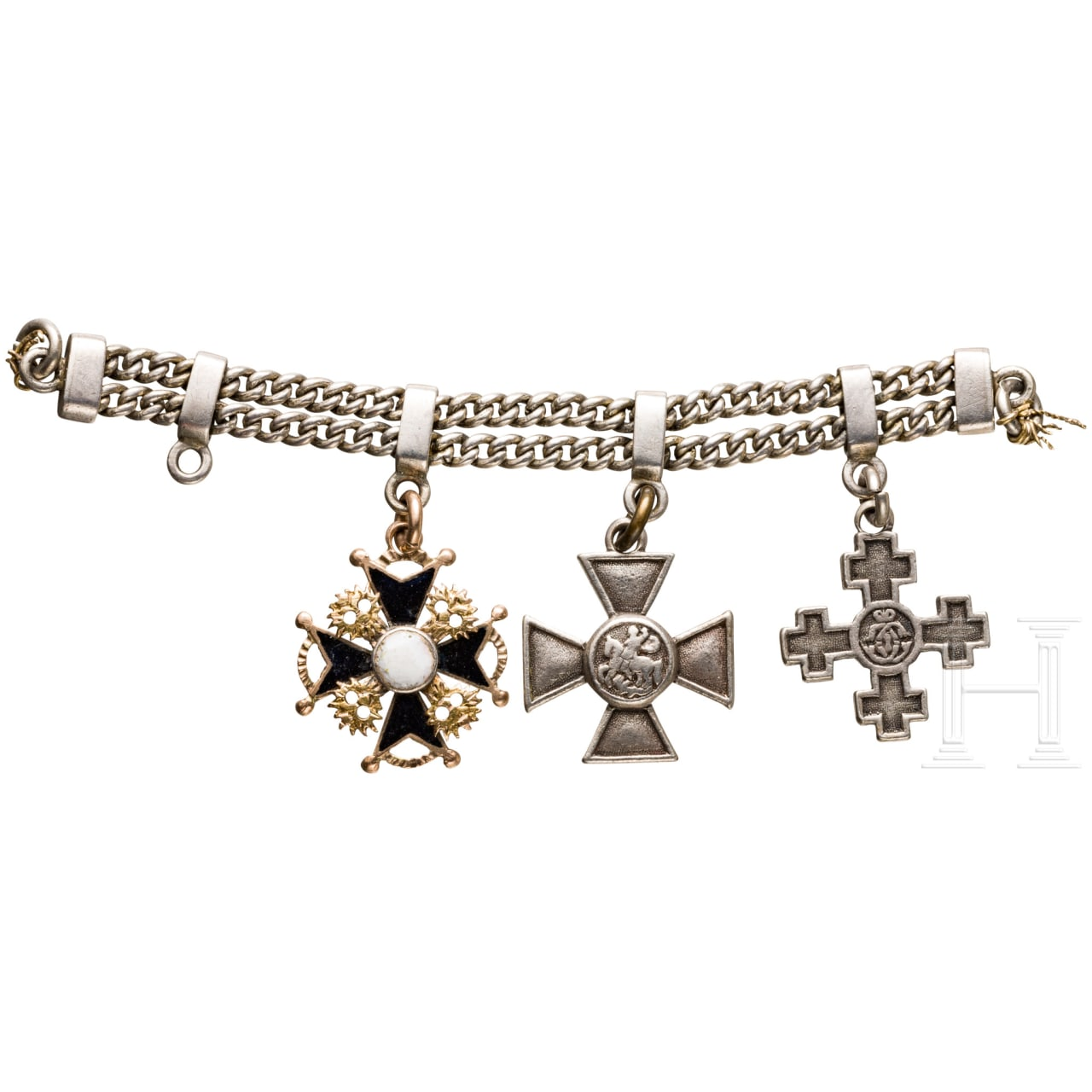 Threepart miniature chain with St. Stanislaus- St. George's Order and the Danube Transition Cross, possibly Russia around 1900
