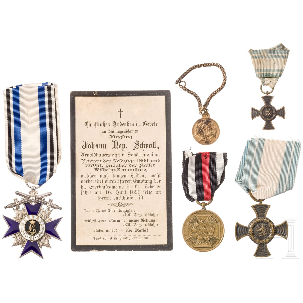 Military Merit Order 4th class with swords, estate of a veteran of the wars 1866, 1870