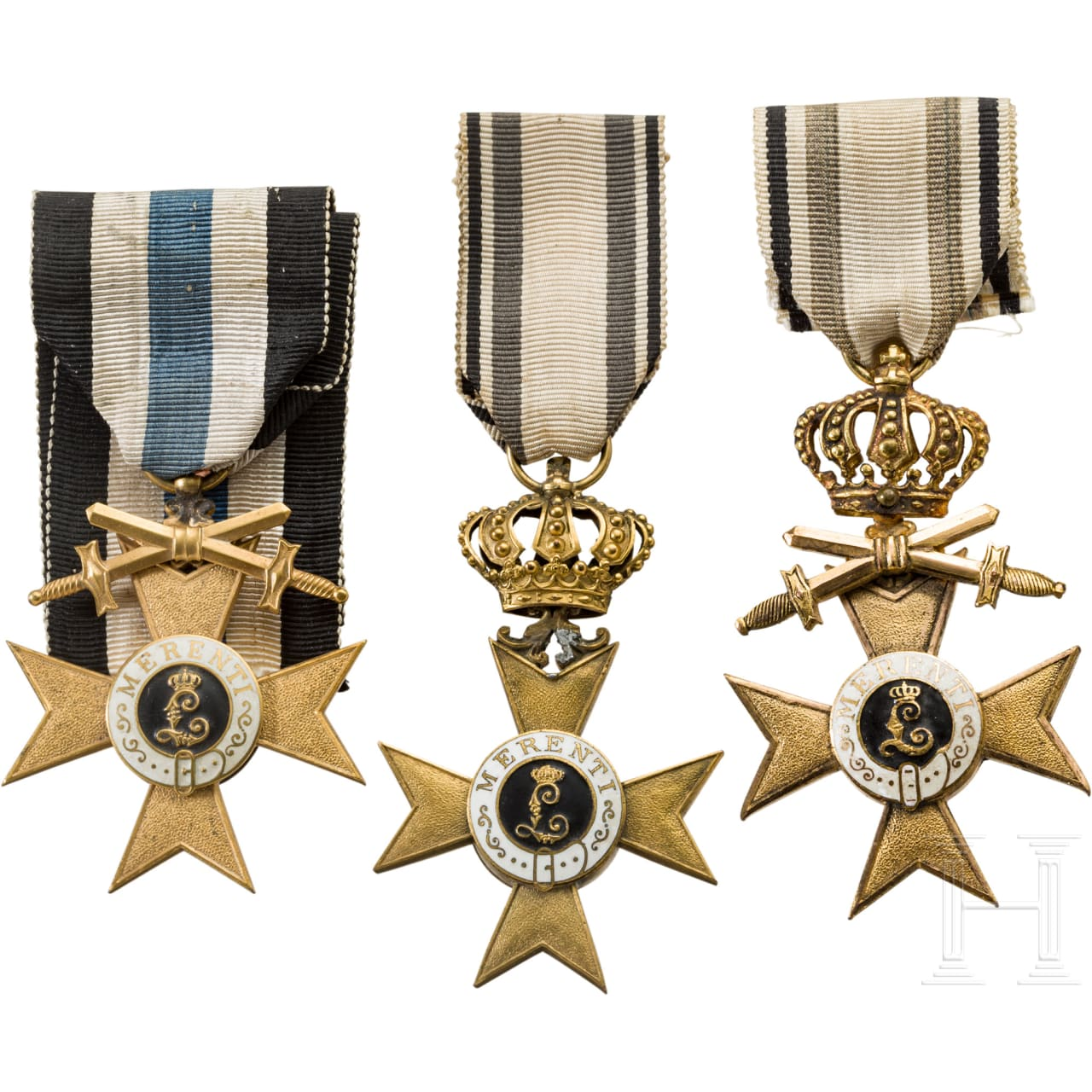Three 1st class Military Merit Crosses , one ribbon sash