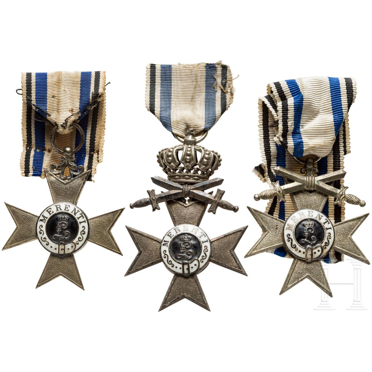 Three Military Merit Crosses 2nd class, a document