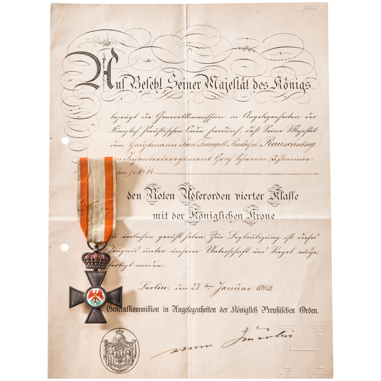 Red Eagle Order 4th class with the royal crown, document
