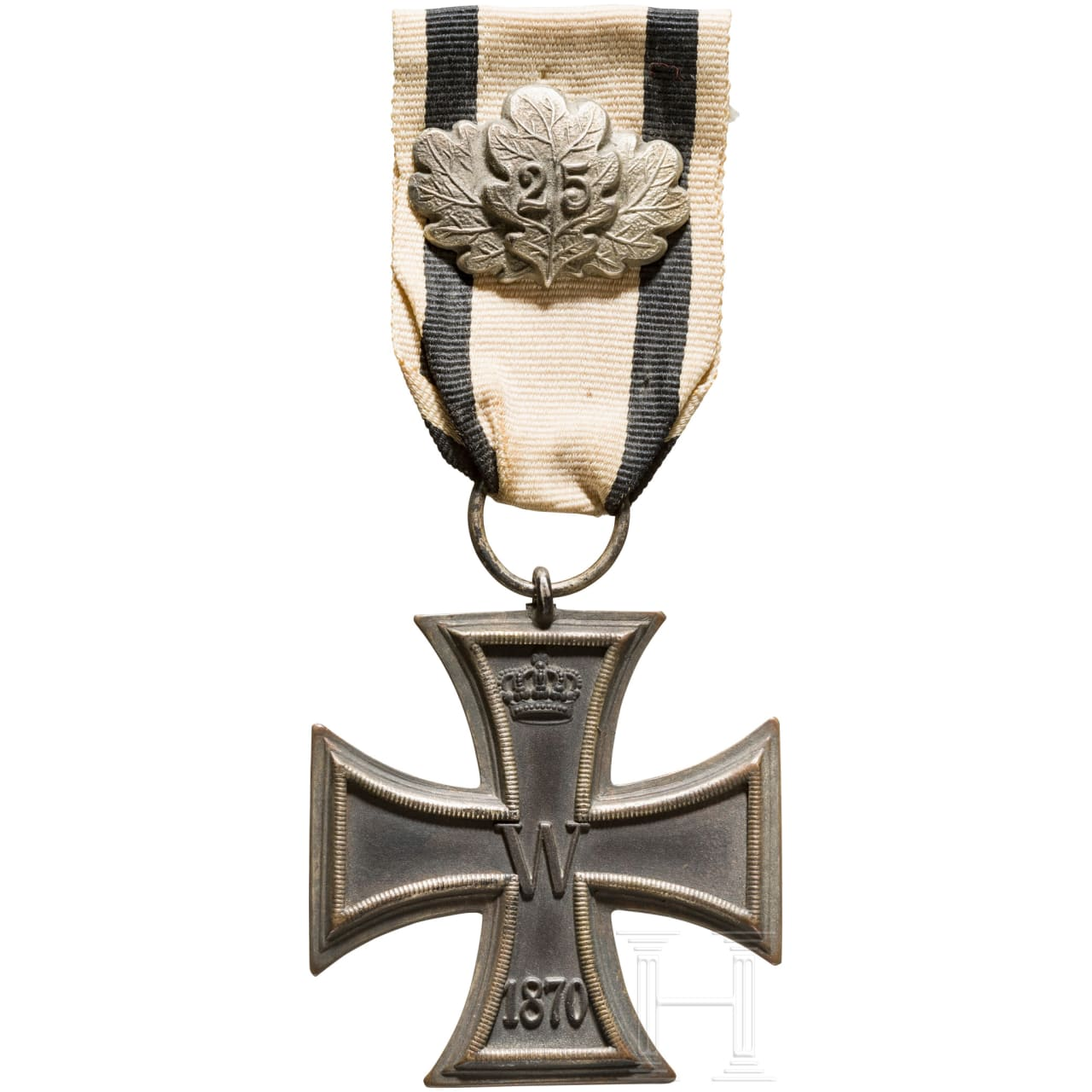 "Iron Cross 2nd class 1870 with oak leaves ""25"", on a non fighter ribbon"
