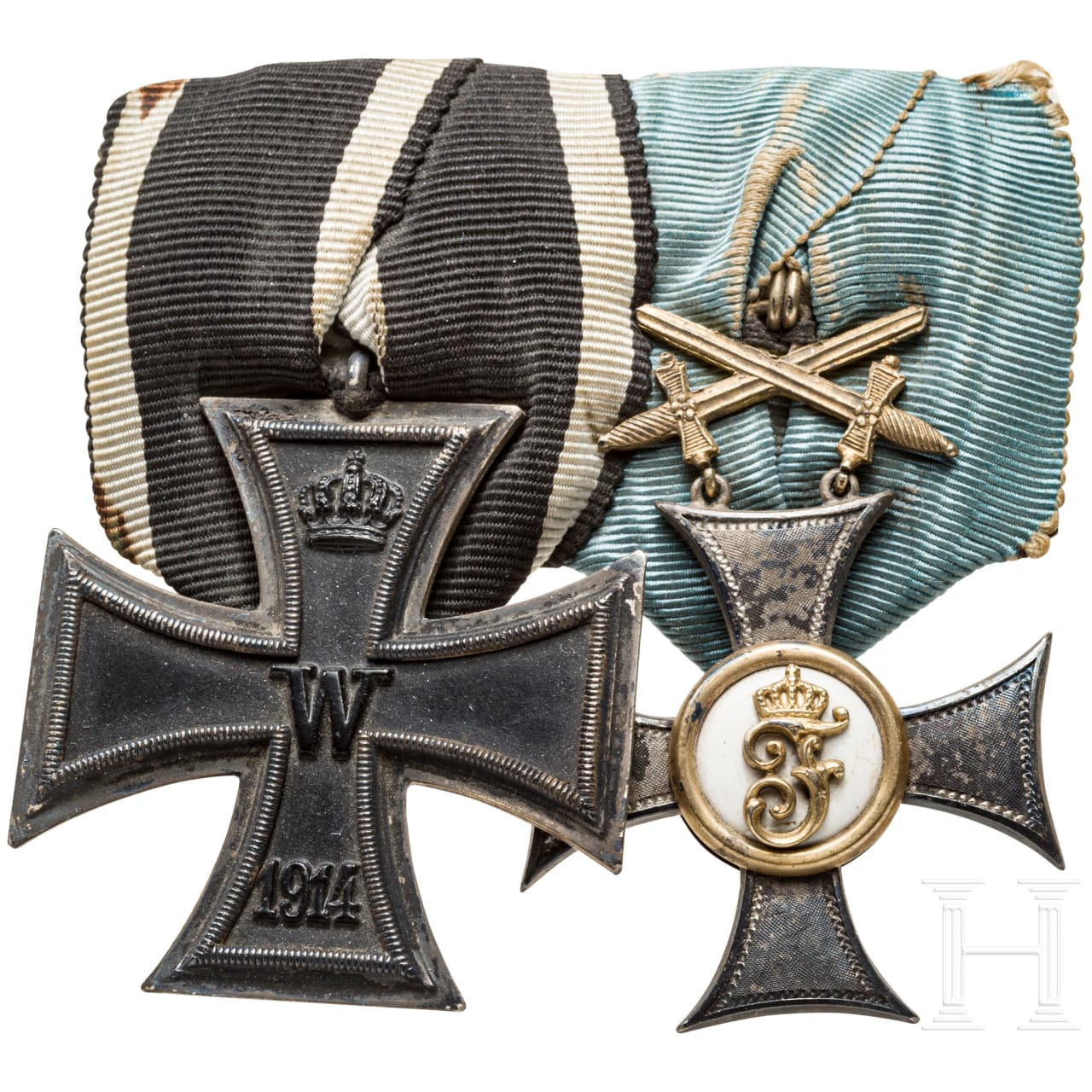 Two medal bars and a document of the Friedrich Order