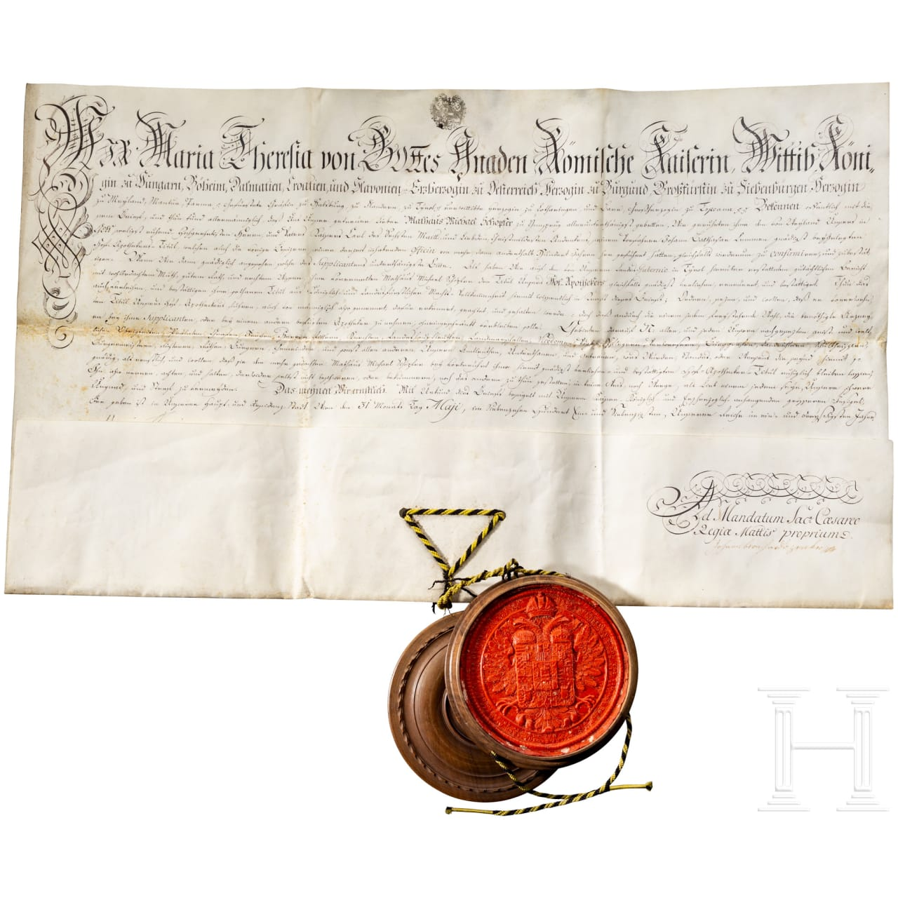 Empress Maria Theresa - Document of appointment as court pharmacist, dated 1771
