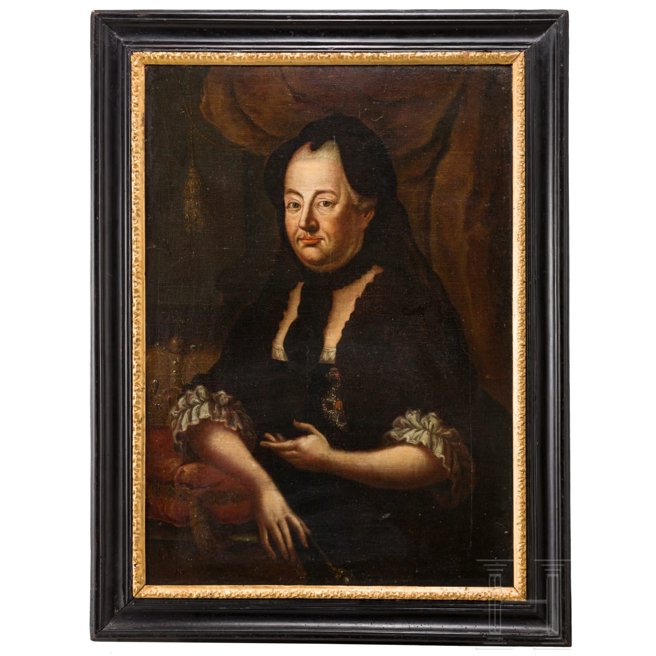 Empress Maria Theresia (1717 - 1780) - portrait painting in black mourning clothes