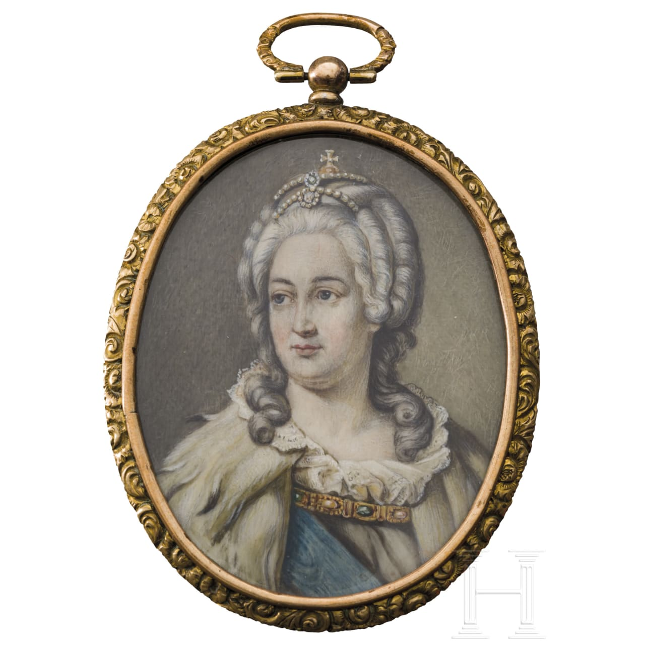 Portrait of the Tsarina Catherine the Great (1729 - 1796) - miniature painting on ivory