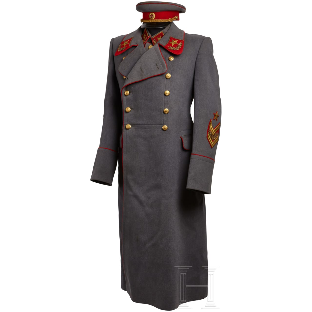 A Soviet Marshal Coat, Tunic, Belt, Cap and Awards