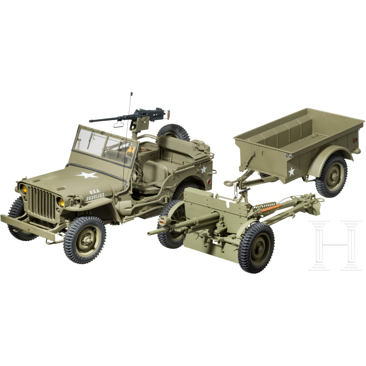 "A hand-constructed model of a Ford GPW ""Jeep"" with M2 Browning machine gun, 37 mm antitank gun and M 100 U.S. Army trailer"