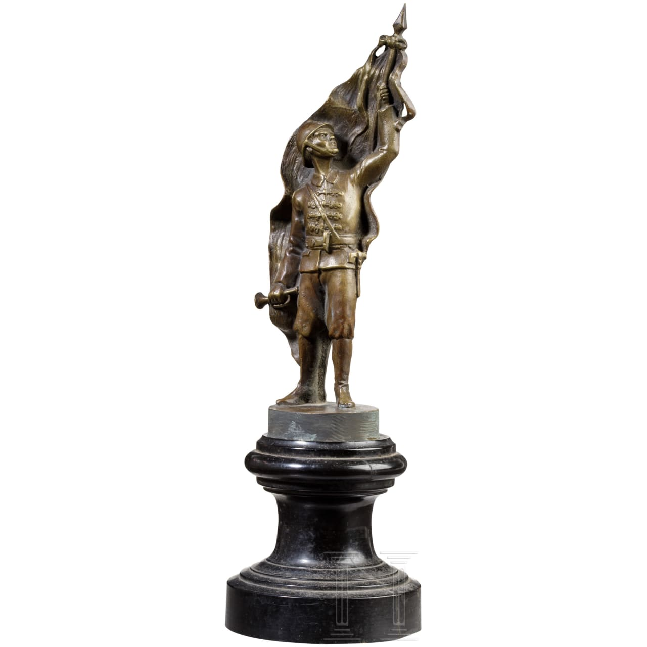 Bronze figure of a firefighter