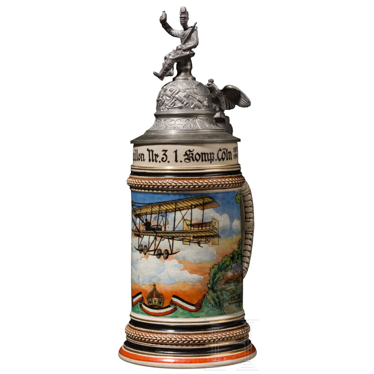 """A reservist's stein belonging to reservist Jägerle of the (tr.) """"Flight Battalion No. 3 1st Company Cologne 1912-14"""""""