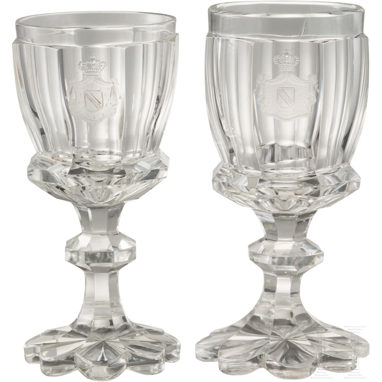 Two crystal wine glasses of the Grand Dukes of Baden