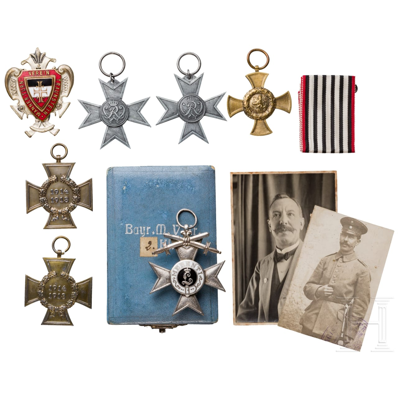 Group of awards, photos and postcards 1st world war - Traunstein in Bavaria
