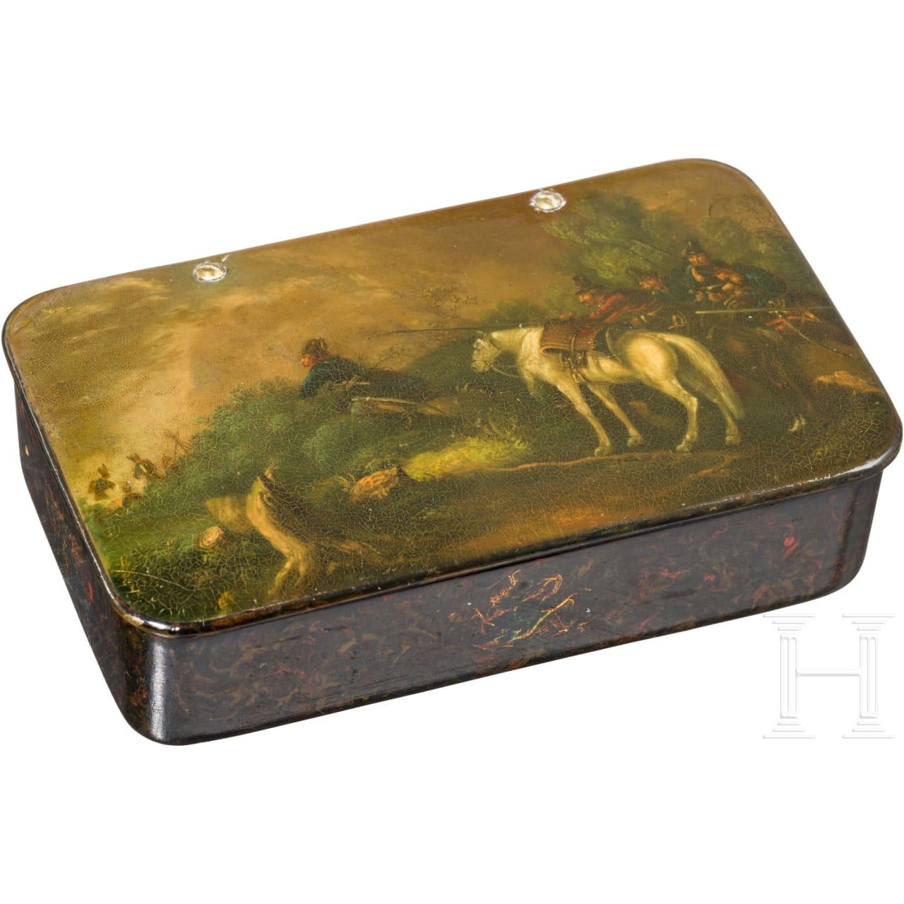 Stobwasser box with depiction of the battle at Ölper, Brunswick, c. 1820