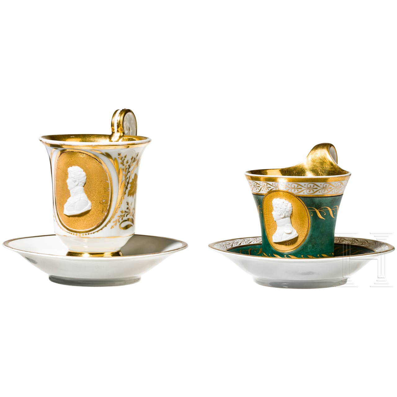 Friedrich Wilhelm IV as crown prince - two KPM cups, c. 1813