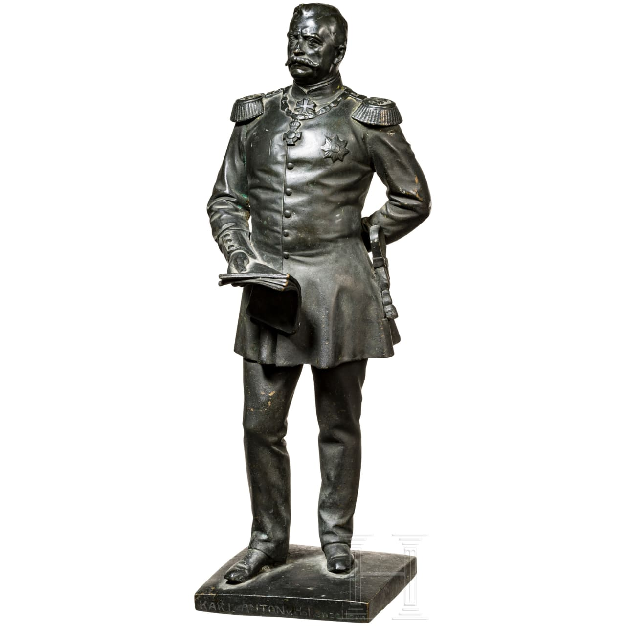 Bronze figure of Prince Karl Anton von Hohenzollern (1811 - 1885) as general