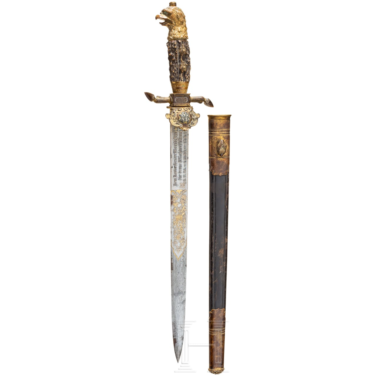 Magnificent presentation hunting hanger with damascus steel blade, around 1900