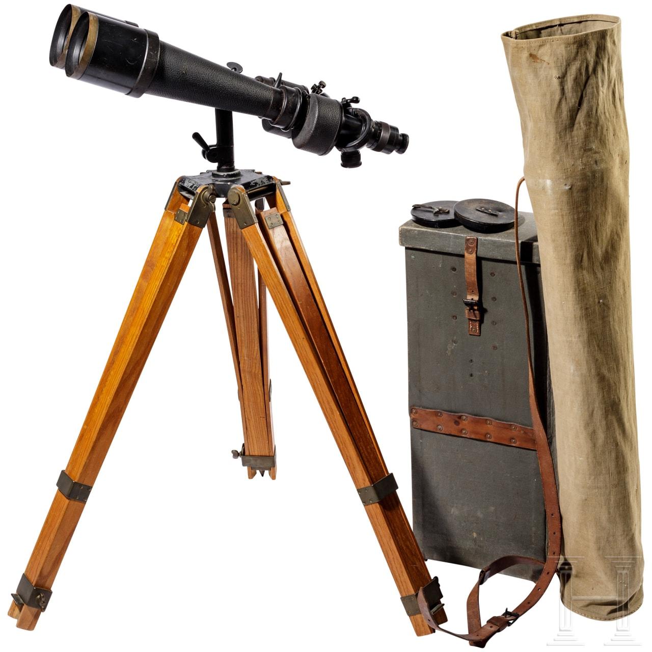 """Carl Zeiss Jena turret binoculars """"Asembi""""- D.F. 12,20,40 x 80 with tripod stand"""