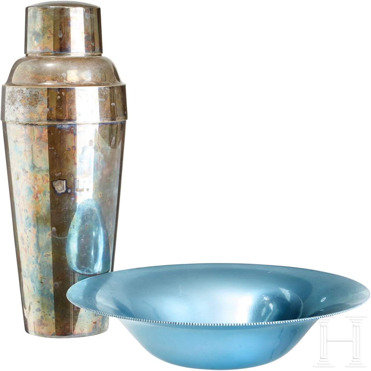 A Cocktail Shaker and Blue Bowl