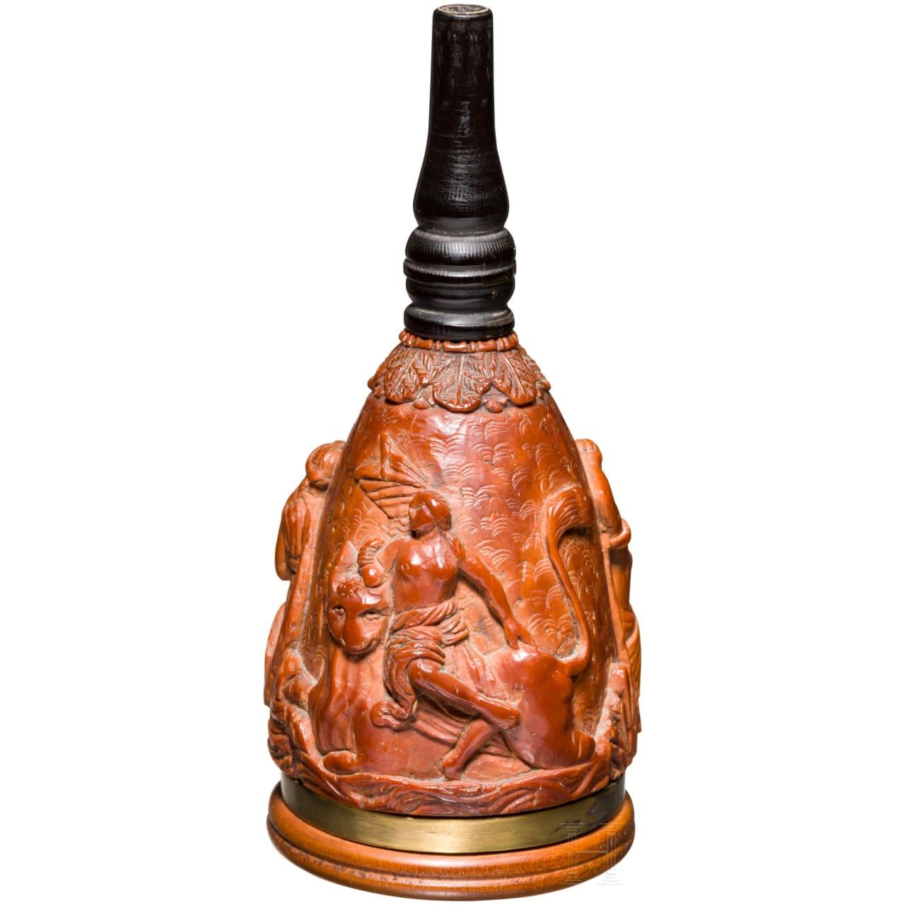Geschnitzte Buchsbaum-Zündkrautflasche, deutsch, um 1700
