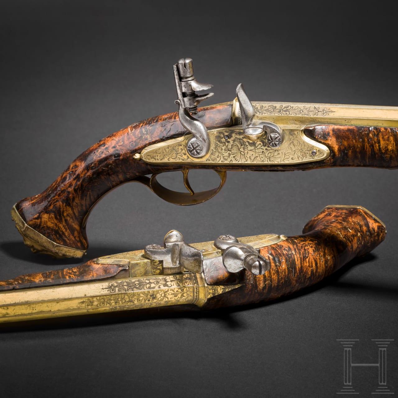Ein extrem seltenes Paar Steinschlosspistolen mit Messingläufen, Felix Werder, Zürich, um 1660 und später