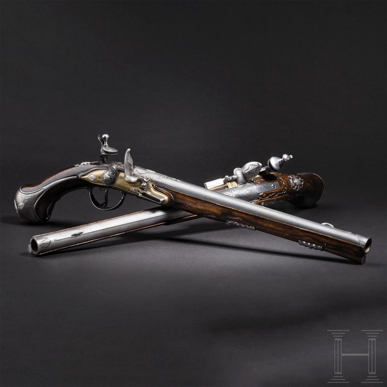 Ein Paar lange Steinschlosspistolen, Picart, Öhringen/Württemberg, um 1710