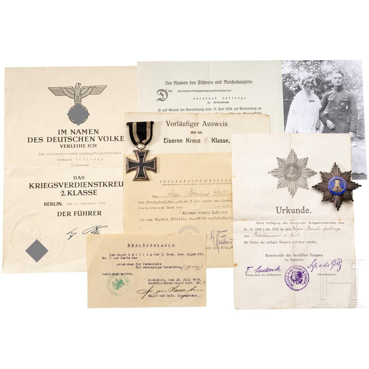 Order and document estate of the rifleman Bernhard Gellings as wearer of the Tamara order