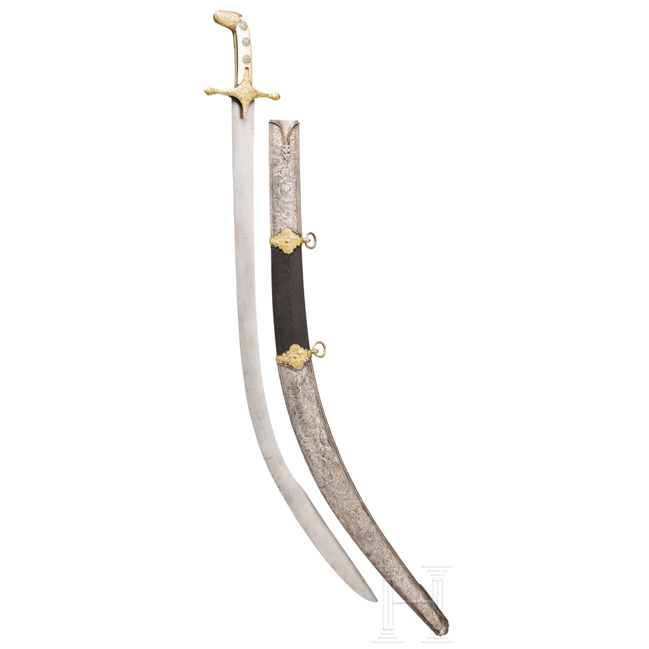 A Balkan Turkish silver-mounted, partially gilt kilij, set with turquoises, late 18th century