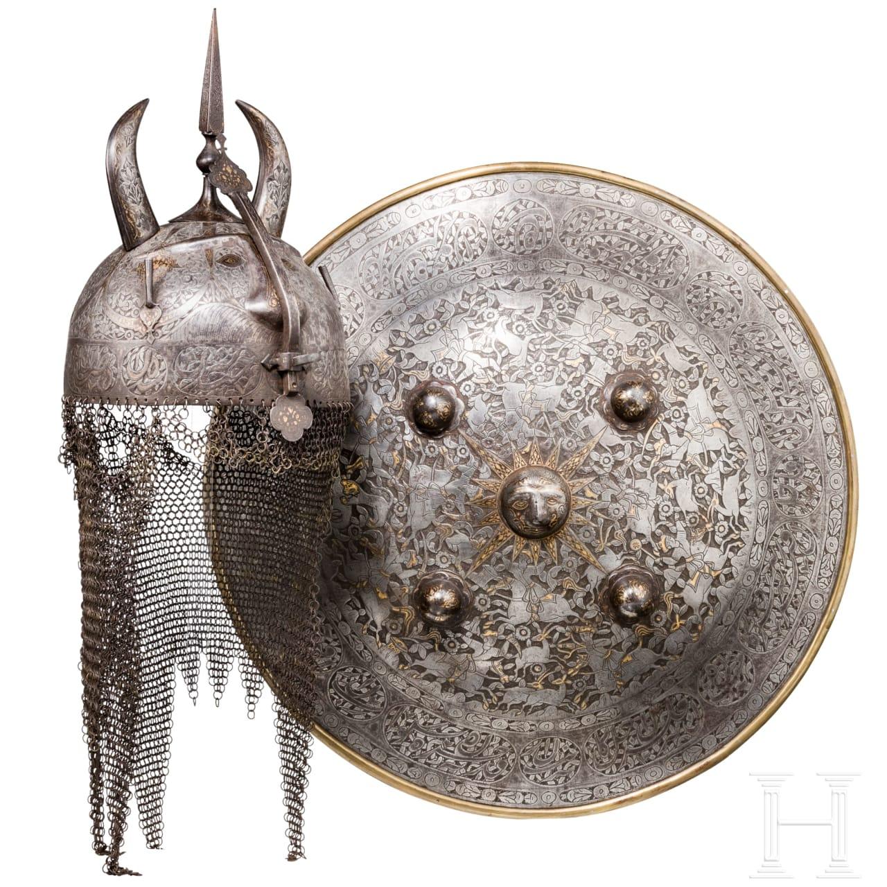 A Persian kulah khud and a shield, 19th century