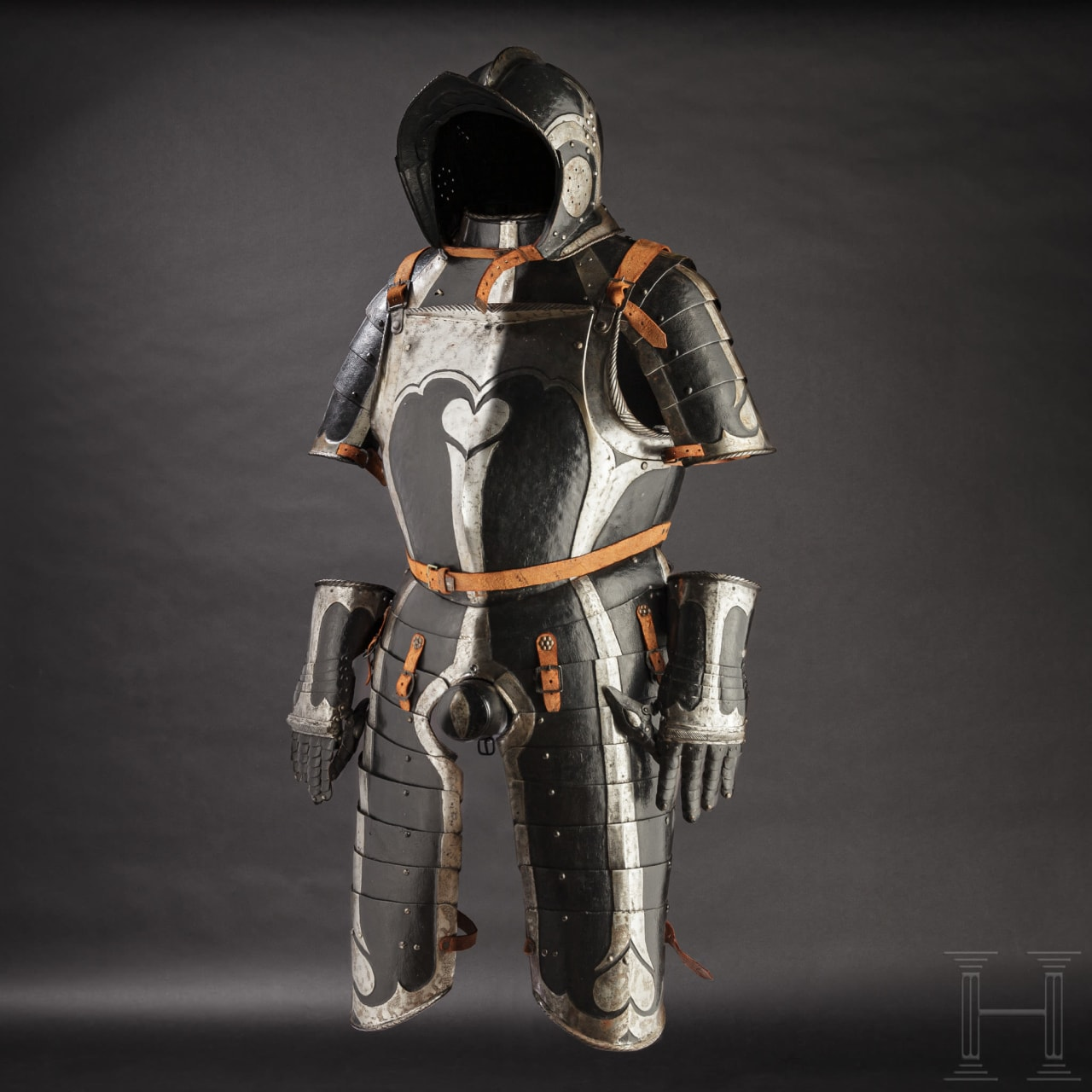 A black and white half armour for an officer with heart-shaped ornaments, Nuremberg, circa 1540/50