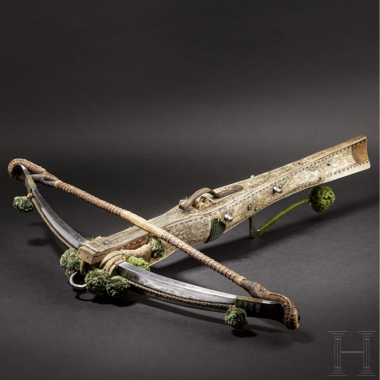 A crossbow with lavish bone inlays by Johann Bensheimer the Elder, Dresden, late 17th century