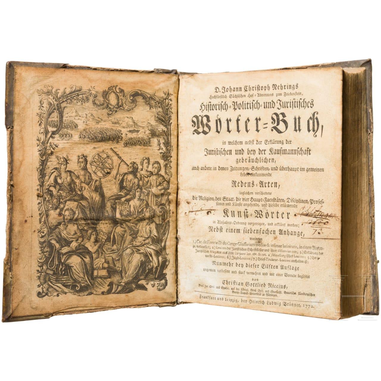 """""""Historisch-, politisch- und juristisches Wörterbuch"""", Frankfurt und Leipzig, 1772"""