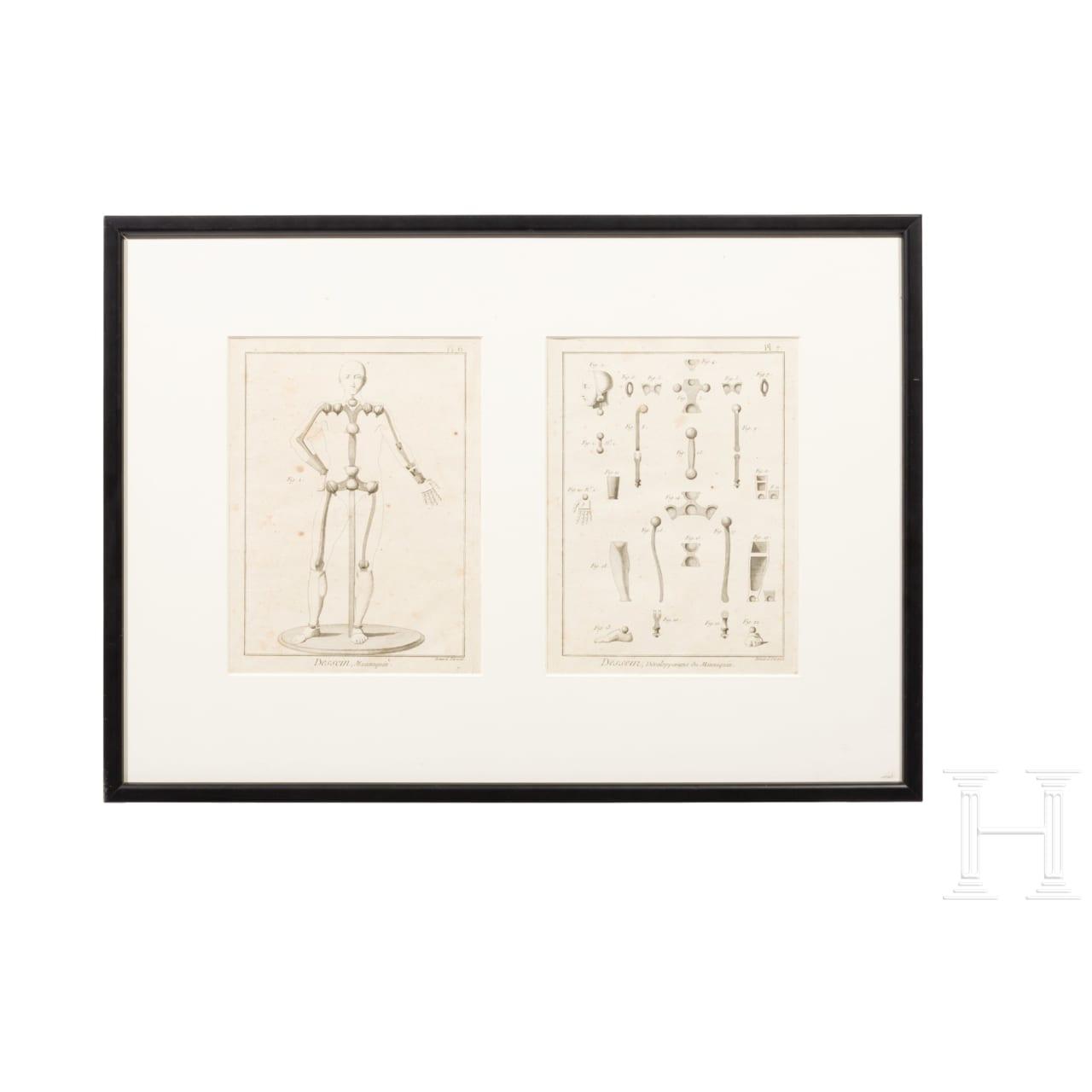 Gerahmte Grafik mit Darstellungen von Mannequins und deren Konstruktion, bezeichnet Bernard Direxit, Frankreich, 19. Jhdt.