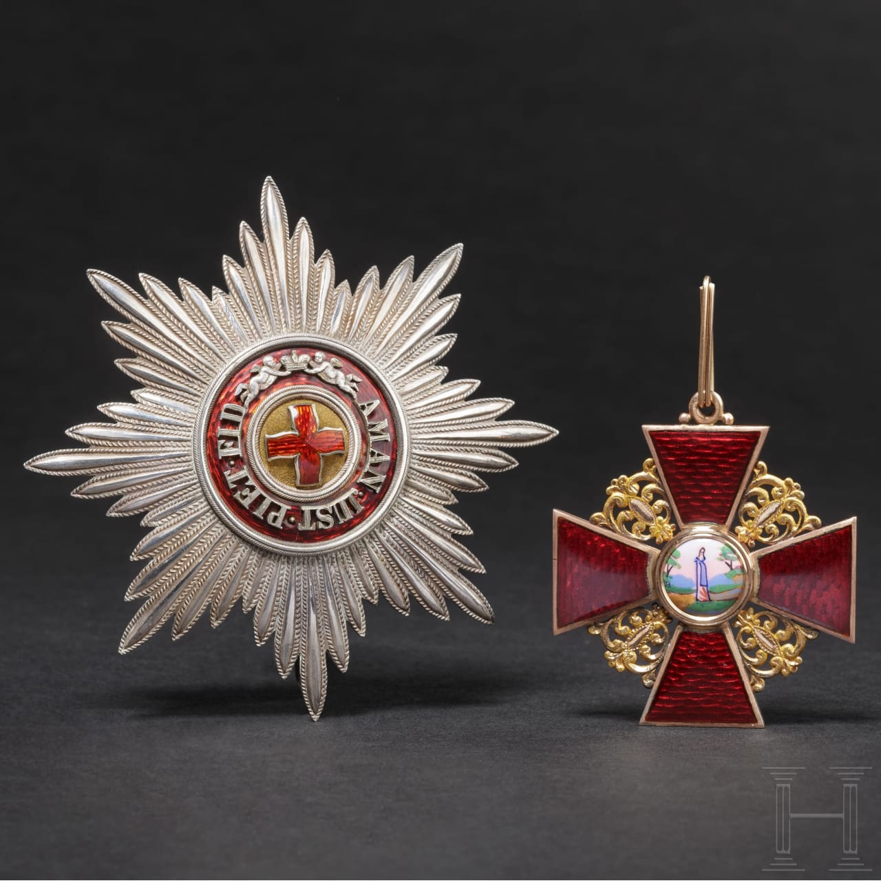 A Russian order set of St. Anna – a cross 1st Ccass with breast star and sash, 2nd half of the 19th century