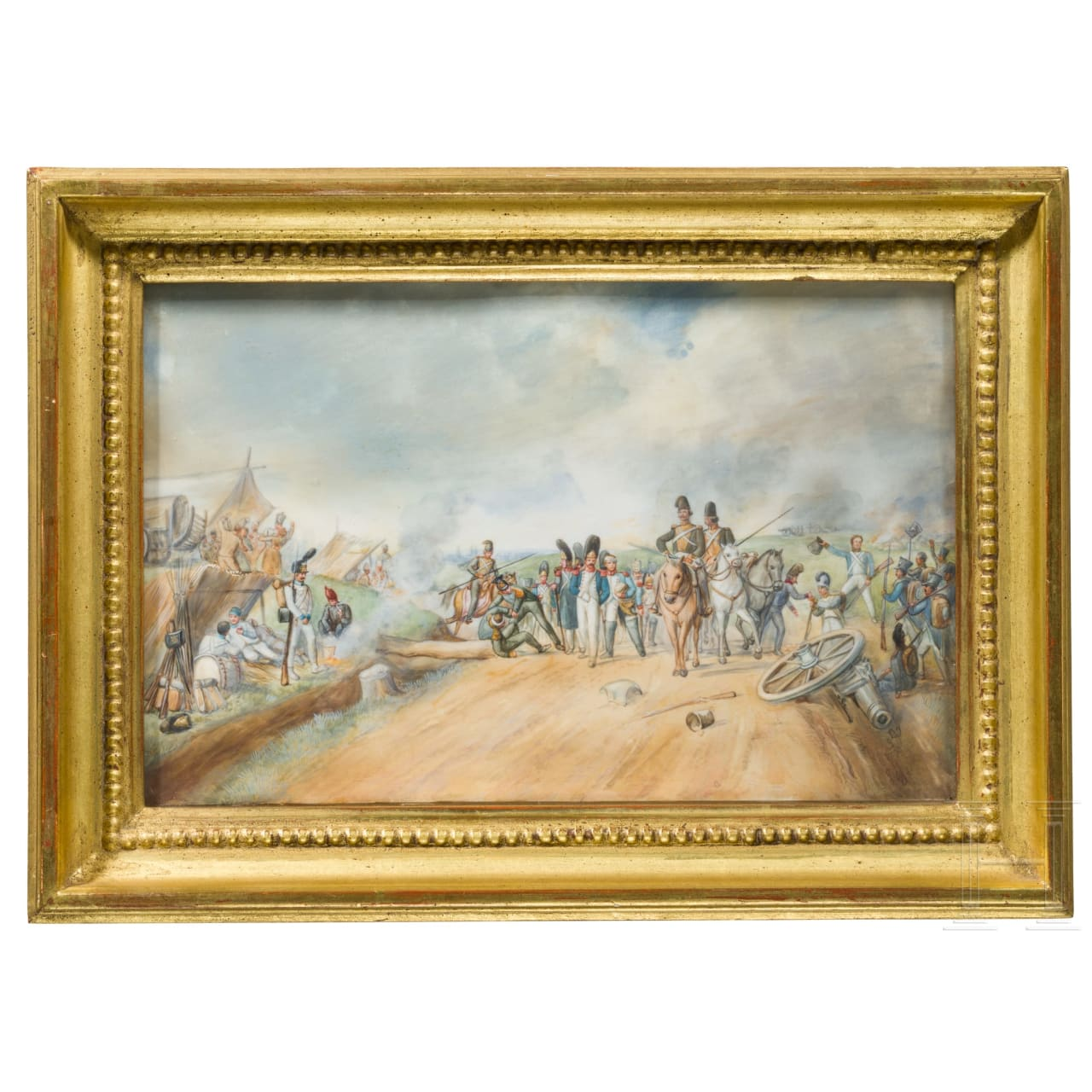 The Battle of Paris (Montmartre) on 30.3.1814 - a miniature on ivory, first half of 19th century